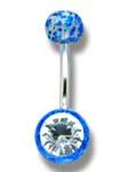 14 gauge Body jewelry, 316L surgical steel with Ultra Violet and CZ glitter design, Belly Button ring