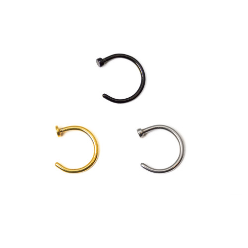 Ion Plated 18ga or 20ga Nose Hoops 3 Pack