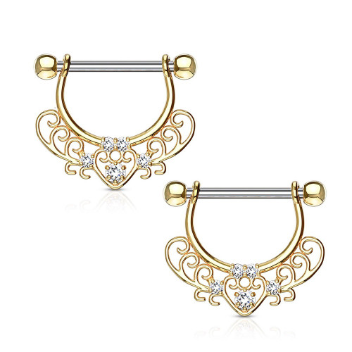 Set Center Heart Filigree Dangle 316L surgical Steel Nipple Rings 14G- Pair