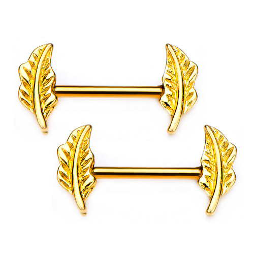 Pair of Nipple Barbells with Forward Facing Feather Gold PVD Plated. Nipple Shield 14g 9/16'