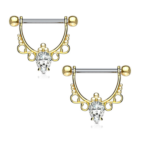 Pair of Nipple Bar Shield Barbells CZ Center with Infinite Filigree Dangle Drop 14ga