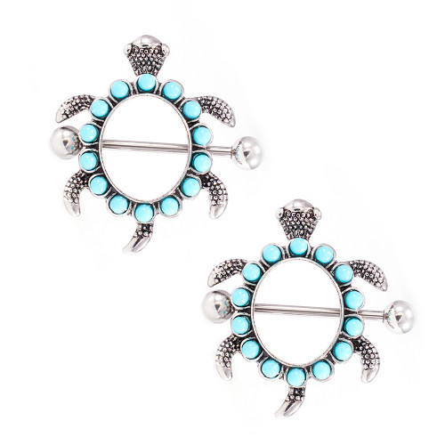 Pair of  Nipple Shields Turtle Design with Aqua Stones 14G
