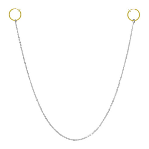 Nipple Chain With Gold Non-Piercing Spring Hoop