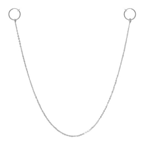 Nipple Chain With Silver Non-Piercing Spring Hoop