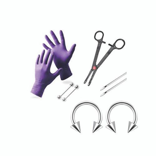 Nipple Piercing Kit  with 2 Nipple Rings Spikes Picked  Gloves, Needles, Tool, & Barbells
