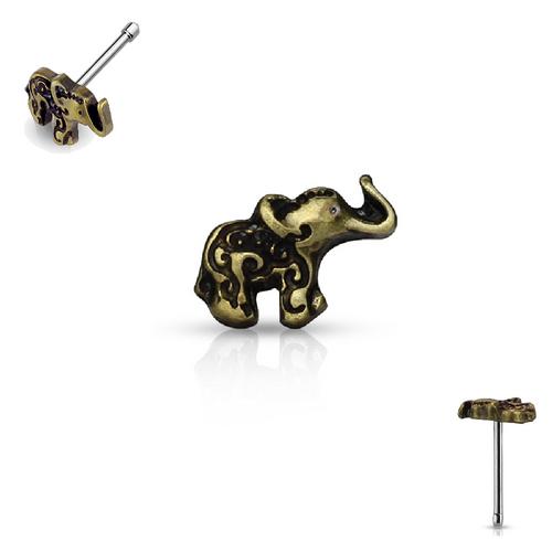Antique Gold Elephant Top 20ga Nose Stud