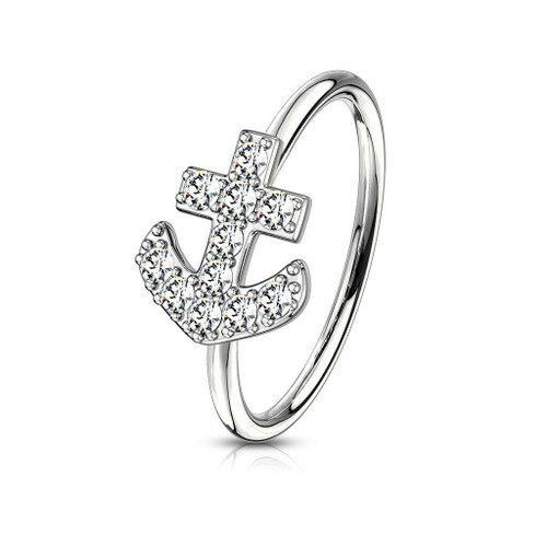 CZ Paved Anchor Bendable Nose or Cartilage Hoop Ring 20ga Stainless Steel
