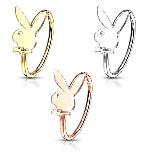 Bendable Hoop with Playboy Bunny Top Cartilage & Nose 20ga Sold Each