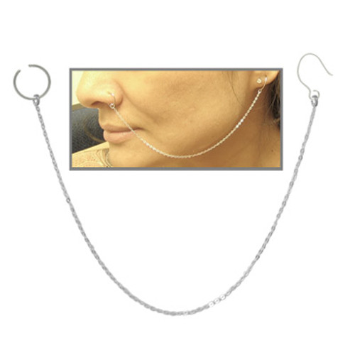 Nose Hoop Ring with Silver Chain
