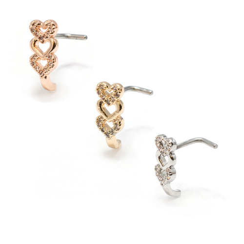 Nose Ring L-Bend 1pc CZ Gem Paved Triple Heart 20g   Crawler Stud Screw