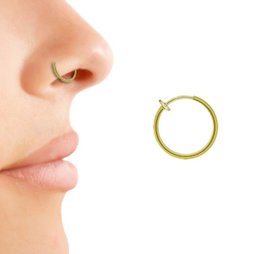 Gold Color Non-Piercing Nose Hoop Ring
