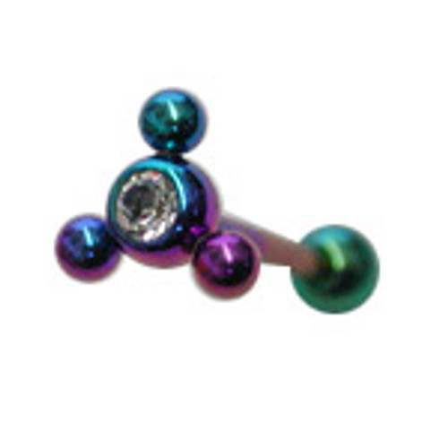 Body jewelry, Titanium with jewel, (14gauge) Barbell Tongue ring