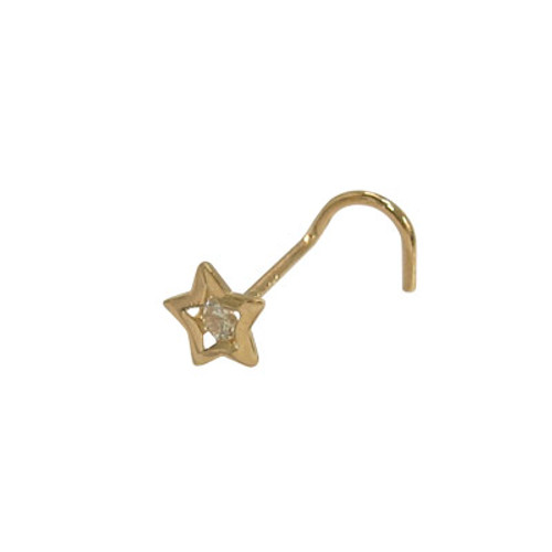 14k Solid Gold Star Nose Screw with Cz Jewel