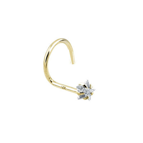 Nose Screw 14k Solid Gold with Star Shape Jewel