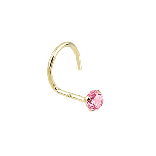 Nose Screw 14k Solid Gold with Round Shape Jewel