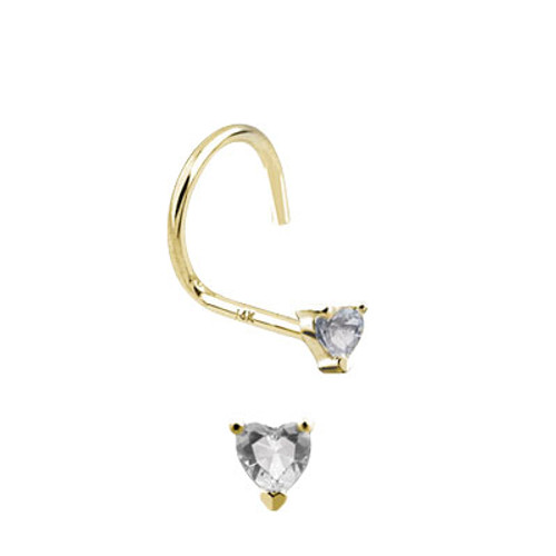 Nose Screw 14k Solid Gold with Heart Shape Jewel