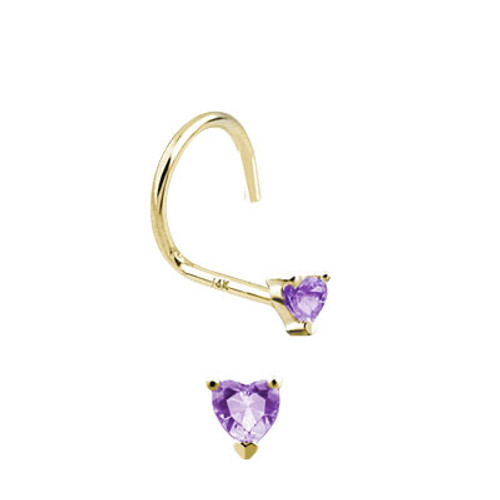 Nose Stud with Heart Jewel