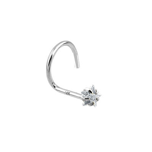 Nose Screw 14k Solid White Gold with Star Shape Jewel
