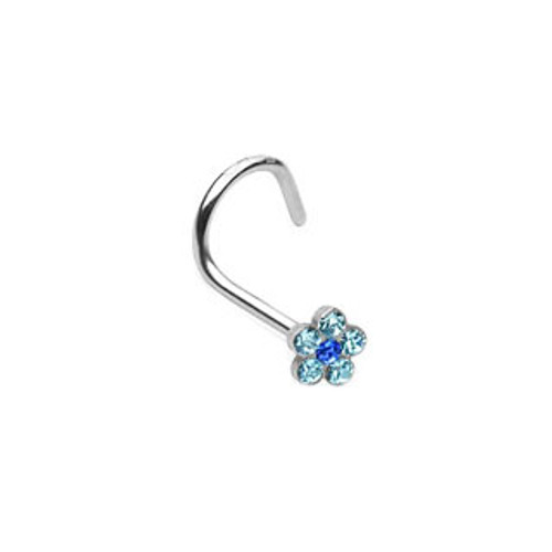Nose Screw with Gem Paved Flower