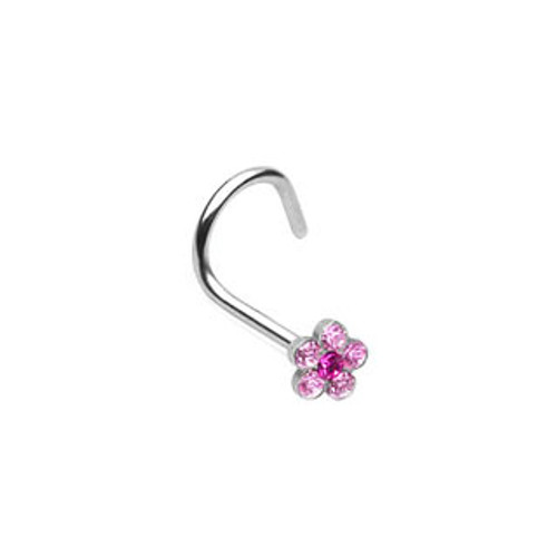Nose Screw with Gem Paved Flower 20g 18ga - Sold Each