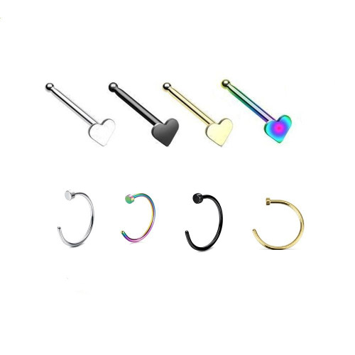 Pack of 2 Anodized Nose Rings- Heart Design Nose Bone & Anodized Nose Hoop 20ga Surgical Steel