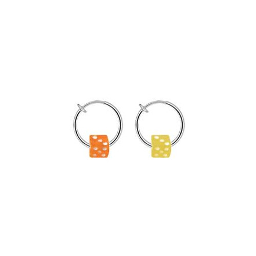 Pair of Non-Piercing Spring Hoop with Acrylic Dice Bead