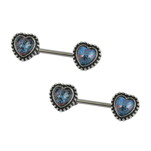 Pair of Heart Shaped 14ga Nipple Rings with Glass Stone