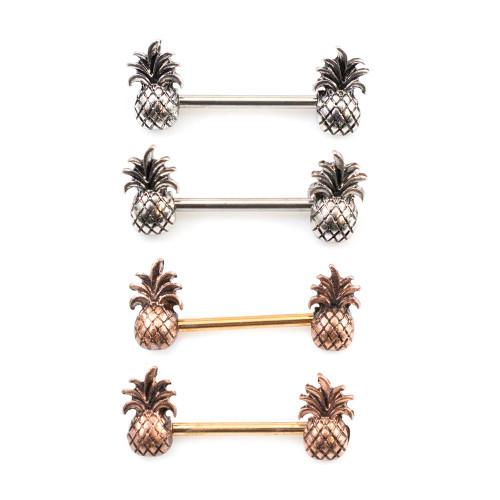 Pair of Nipple Barbells with Pineapple Design 14ga 9/16