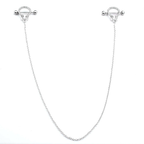 Nipple Shields with Cubic Zirconia  Handcuff Design with Connecting Chain - Out of Stock