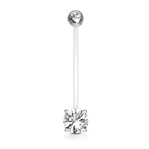 Bio-flex Maternity Belly Button Ring with Double Jeweled Prong Setting CZ 14ga