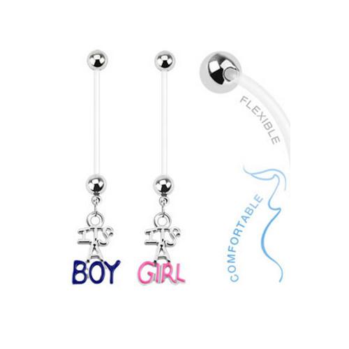 14ga Baby Gender Dangle Bioflex Pregnancy Navel Ring
