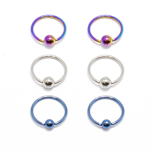 Captive Bead Ring 6pc 18G Anodized Titanium Nose Lip Ear Cartilage Septum CBR