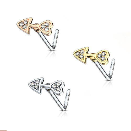 Nose Stud Screw L-Bend Heart Arrow Design 20g with Clear Cubic Zirconia Gems - Out of Stock