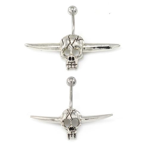 Bull Skull Vintage Design Belly Button Ring 14g