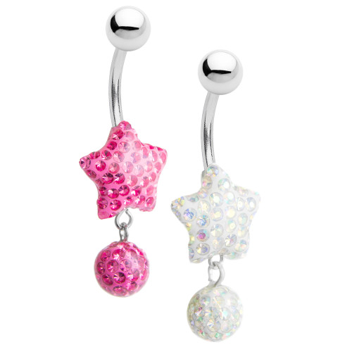 Star-Shaped Belly Rings with Dangling Ball 1 Pair