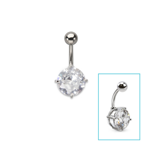 """14ga-3/8"""" Round 10mm CZ Prong Set 316L Surgical Steel Navel Ring"""