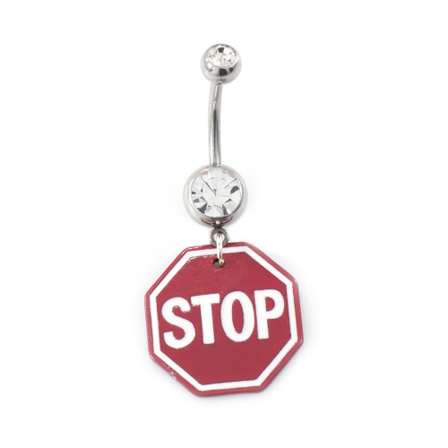 Stop Sign with Cubic Zirconia Belly Button Ring 14g