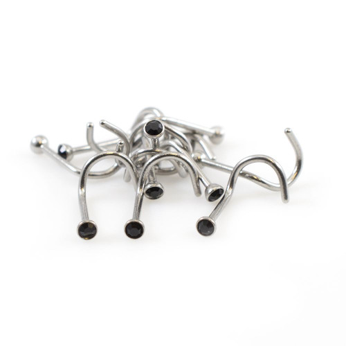 Pack of 10 Nose Screws with Black Round Press Fit CZ 22ga 1/4 -6mm