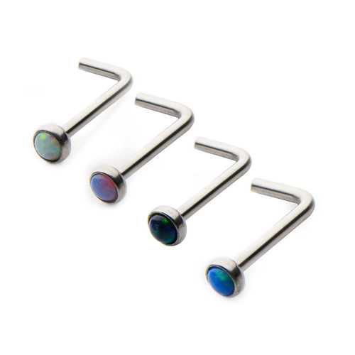 20g Nose L-Bend with 2mm Bezel Set Synthetic Opal 316L Surgical Steel