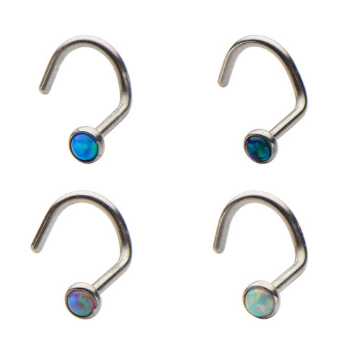 20ga Nose Screw with 2mm Bezel Set Synthetic Opal