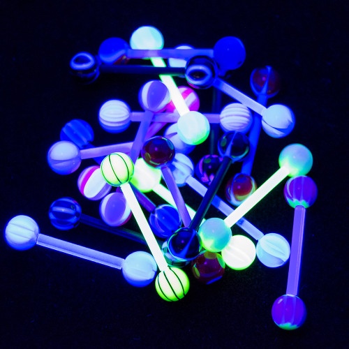 Tongue Nipple Piercing Barbells - 20pk 14ga UV Glow - Bioflex No Duplicates