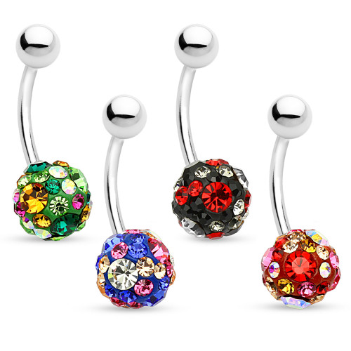 Ferido Ball 14ga Belly Button Ring Paved with CZ Gems