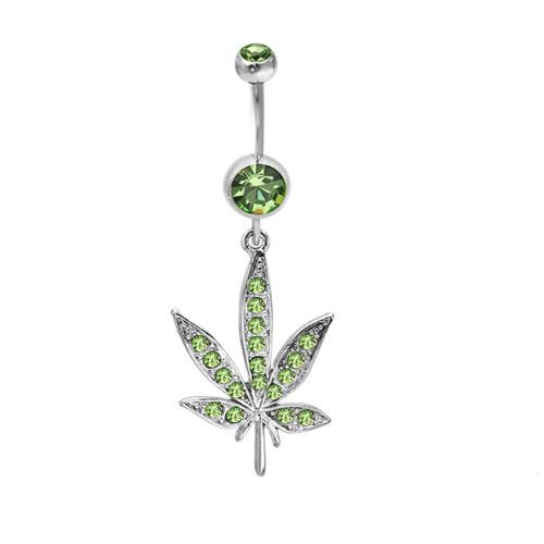 Dangling Pot Leaf Design 14ga Navel Ring with CZ Gems