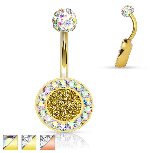 Crystal Paved 14ga Belly Button Ring with Sparkling Center