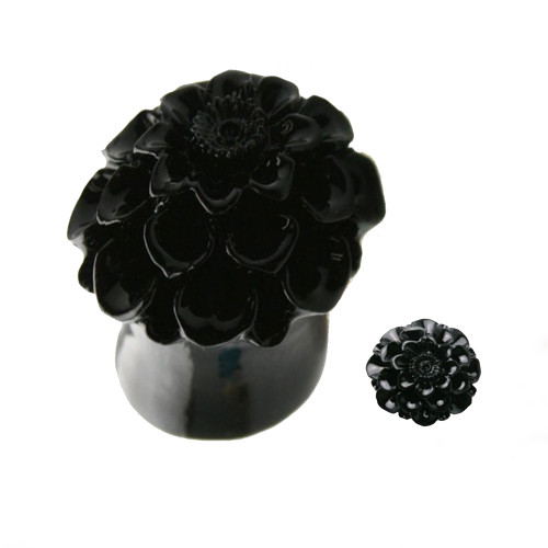 Organic Resin Ear Plugs Black Daisy Sold as a Pair