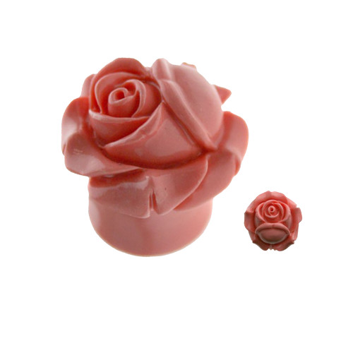 Pair of Organic Resin Ear Plugs Peach Closed Rose