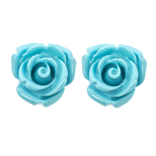 Pair of Organic Resin Ear Plugs Turquoise Rose Blossom