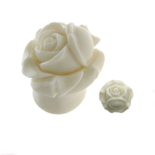 Organic Resin Ear Plugs White Closed Rose Sold as a  Pair
