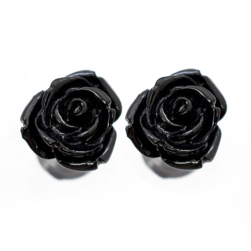 Organic Resin Ear Plugs Black Rose Blossom 1 Pair - Out of Stock