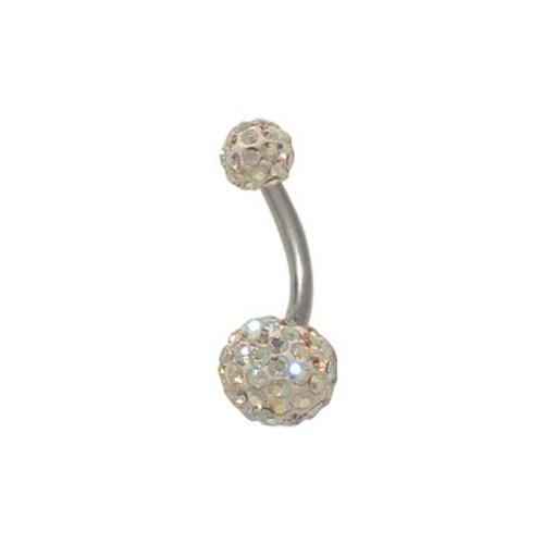 14 gauge Opal Swarovski Crystal Ferido Belly Button Ring